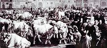 Ochsenmarkt um 1750 (Zeitgenössische Darstellung)