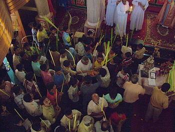 The congregation in an Oriental Orthodox churc...