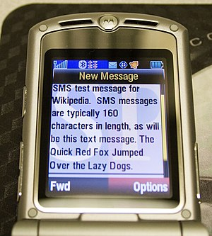 SMS message received on a Motorola RAZR wirele...