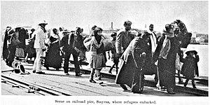 Smyrna massacre, 1922. Railroad pier in Smyrna...