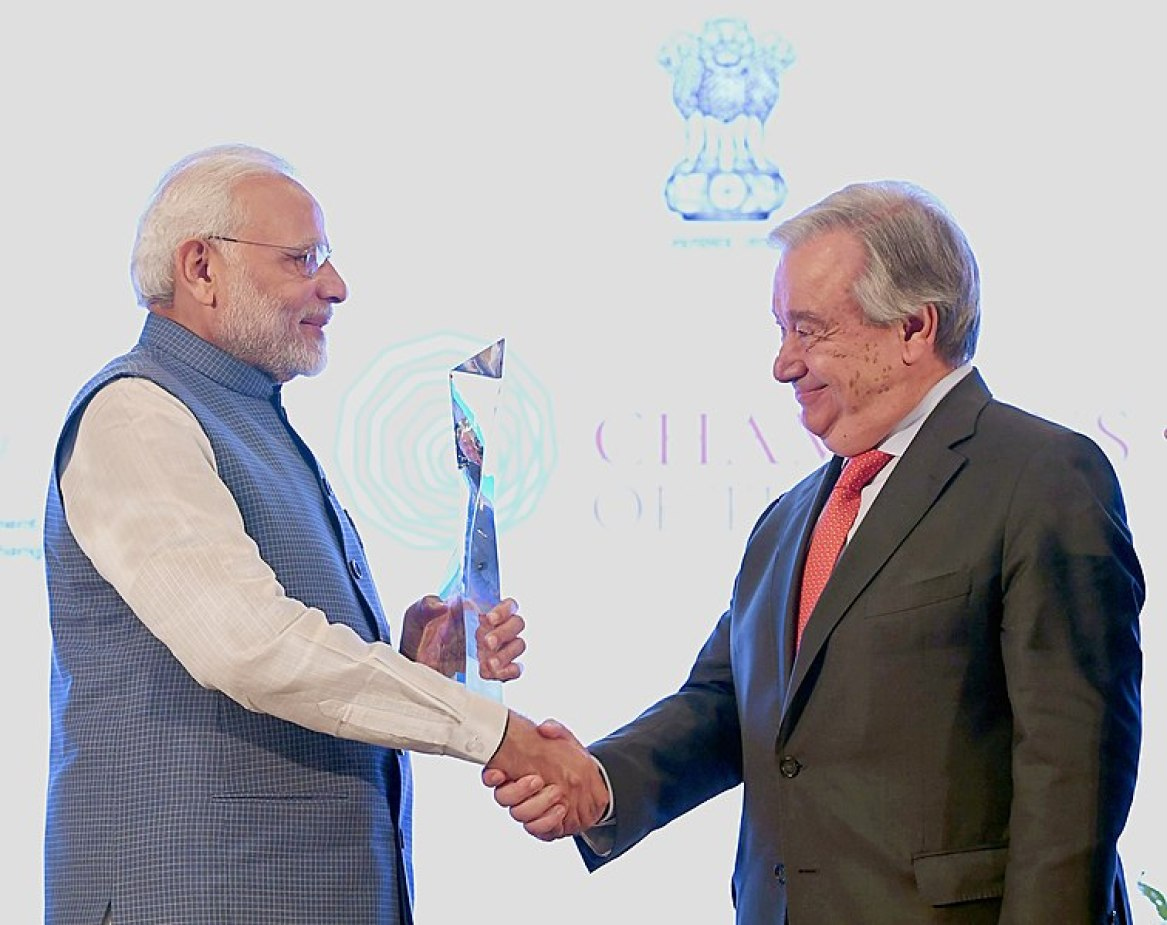 "File:The Prime Minister, Shri Narendra Modi being presented the ""Champions of The Earth"" award by the Secretary General of the United Nations, Mr. Antonio Guterres, at a function, in New Delhi on October 03, 2018.JPG"