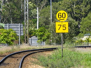 English: A speed board to show train speed lim...
