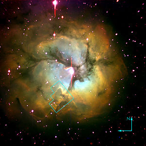 The Trifid nebula. The outlined area is enlarg...
