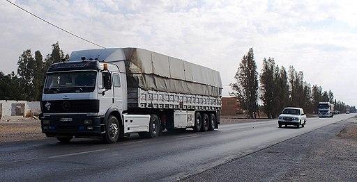 Trucks on the road in Jordan