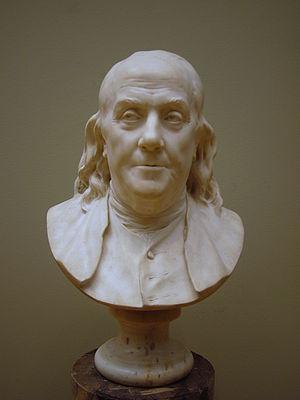 Jean-Antoine Houdon: Benjamin Franklin. Marble...