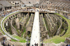The Colosseum arena, showing the hypogeum. The...