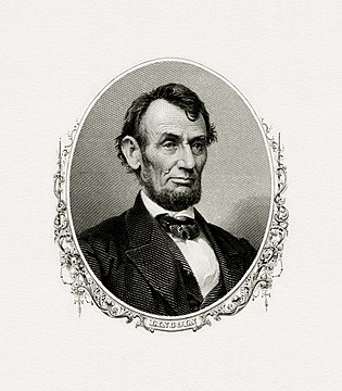 BEP engraved portrait of Lincoln as President.