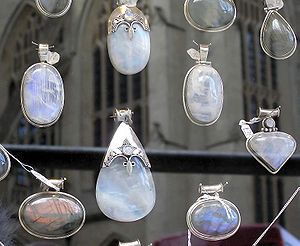 Moonstone cabochons in a jewellers window