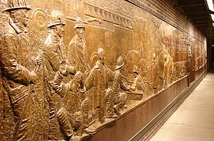 Bronze wall mural dedicated to the fallen fire...