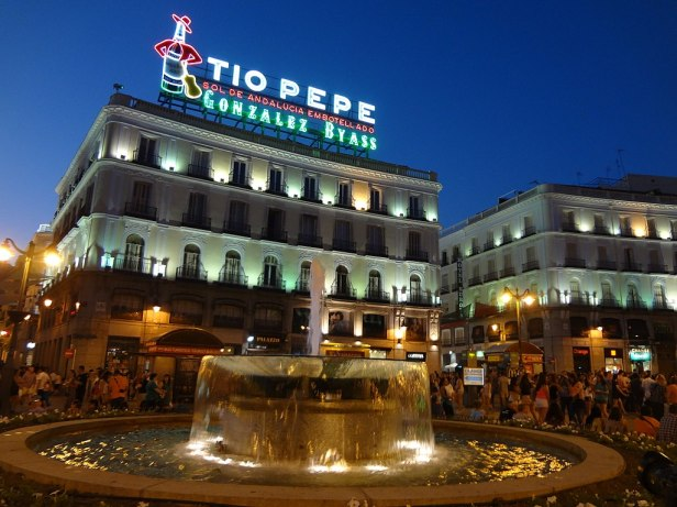 Puerta del Sol in Madrid, Spain ' Tio Pepe Neon Advertisment ' photographed at Sunset