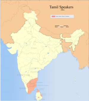 Distribution of Tamil speakers in South India ...