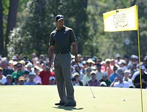 w:Tiger Woods during a practice round at the M...
