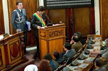 Morales addressing Bolivia's Parliament