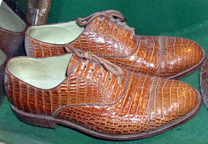 Shoes made from real crocodile skin, in a cons...