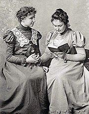 Helen Keller and her teacher Anne Sullivan