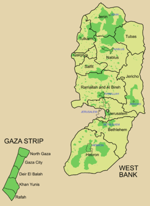 Map showing areas of Palestinian Authority con...