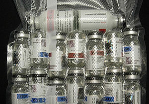 Numerous vials of injectable anabolic steroids...
