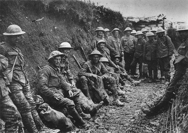 In the trenches: Royal Irish Rifles in a communications trench on the first day on the Somme, 1 July 1916.