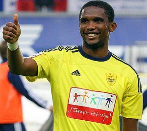 English: Samuel Eto'o playing for FC Anzhi Mak...