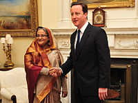 Hasina with David Cameron in London (January 2011)