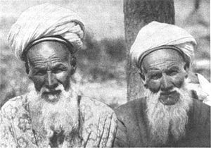 English: Two Uighur Mullahs in Xinjiang in the...