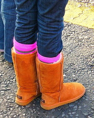 A teenage girl wearing Uggs in Dublin, Ireland.