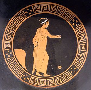 Boy playing yo-yo. Tondo of an Attic red-figur...