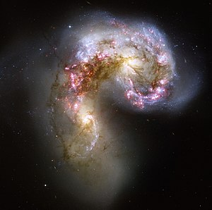 The Antennae Galaxies are undergoing a collisi...