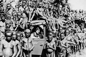 English: Mbuti pygmies with Osa Johnson explor...
