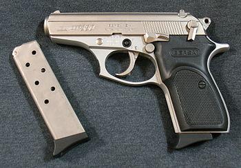 English: Bersa Thunder 380 pistol with nickel ...