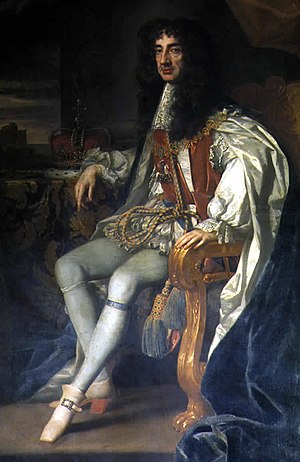 Charles II of England in the robes of the Orde...