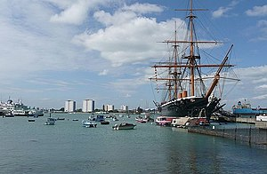 English: HMS Warrior One of the many exhibits ...