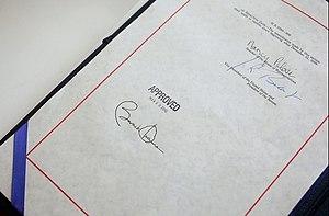 The signatures of President Barack Obama, Vice...