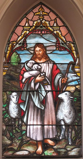 English: Jesus, the Good Shepherd window at St...