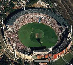 An aerial view of the Melbourne Cricket Ground...
