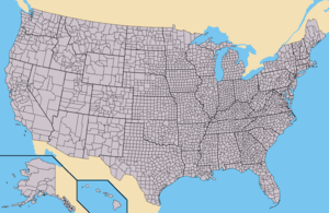 Map of the USA showing borders of states and c...