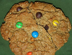 English: Homemade monster cookie with M&M candies