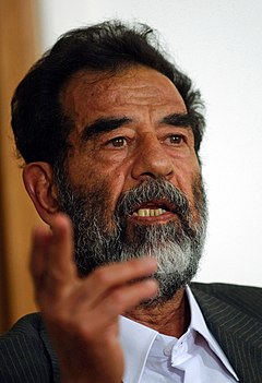 Saddam Hussein at trial, July 2004-edit1