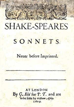 Title page of Shakespeare's Sonnets (1609)