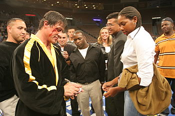 Actor Sylvester Stallone, who plays Rocky in t...