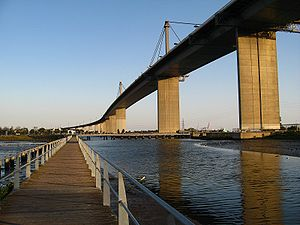 The West Gate Bridge as seen from the walkway ...