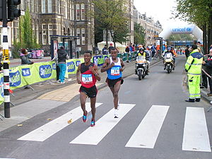 Amsterdam Marathon 2008. On the left (#31) is ...