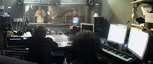 Photo of a recording studio control room durin...