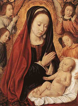English: Madonna and Child Adored by Angels Oa...