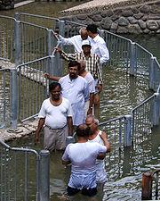 Awaiting submersion baptism in the Jordan river