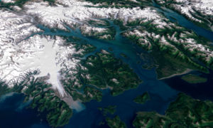 3D visualization of Landsat imagery of Glacier...