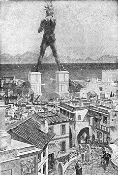 羅得島太陽神銅像 - 維基百科,該銅像建立於公元前 284 年,羅德島與土耳其隔馬爾馬拉海峽(Marmara)相望,自由的百科全書