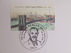 John August Roebling, Stamp, Deutschland 2006.