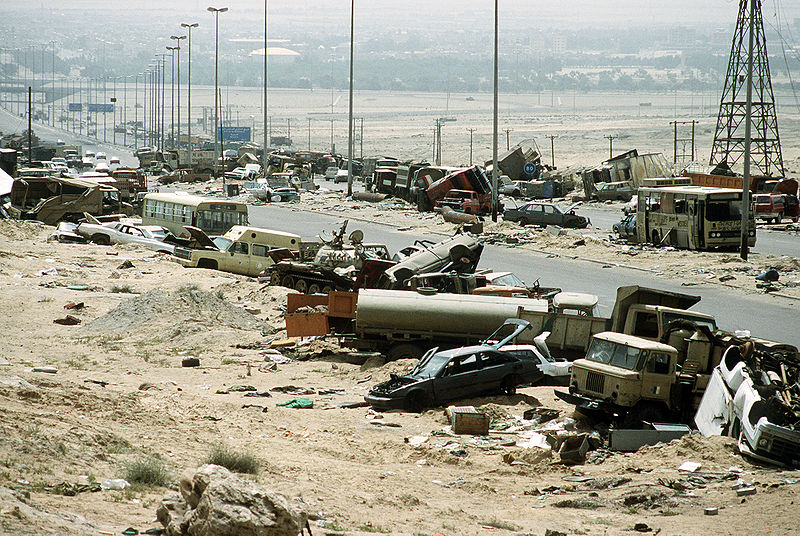 File:Demolished vehicles line Highway 80 on 18 Apr 1991.jpg