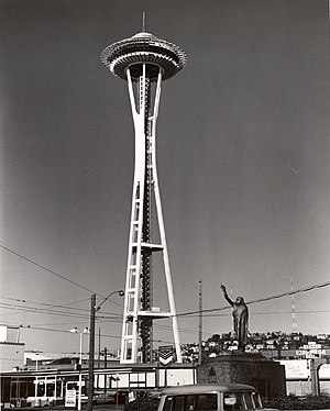 The Space Needle nearing completion in 1961.